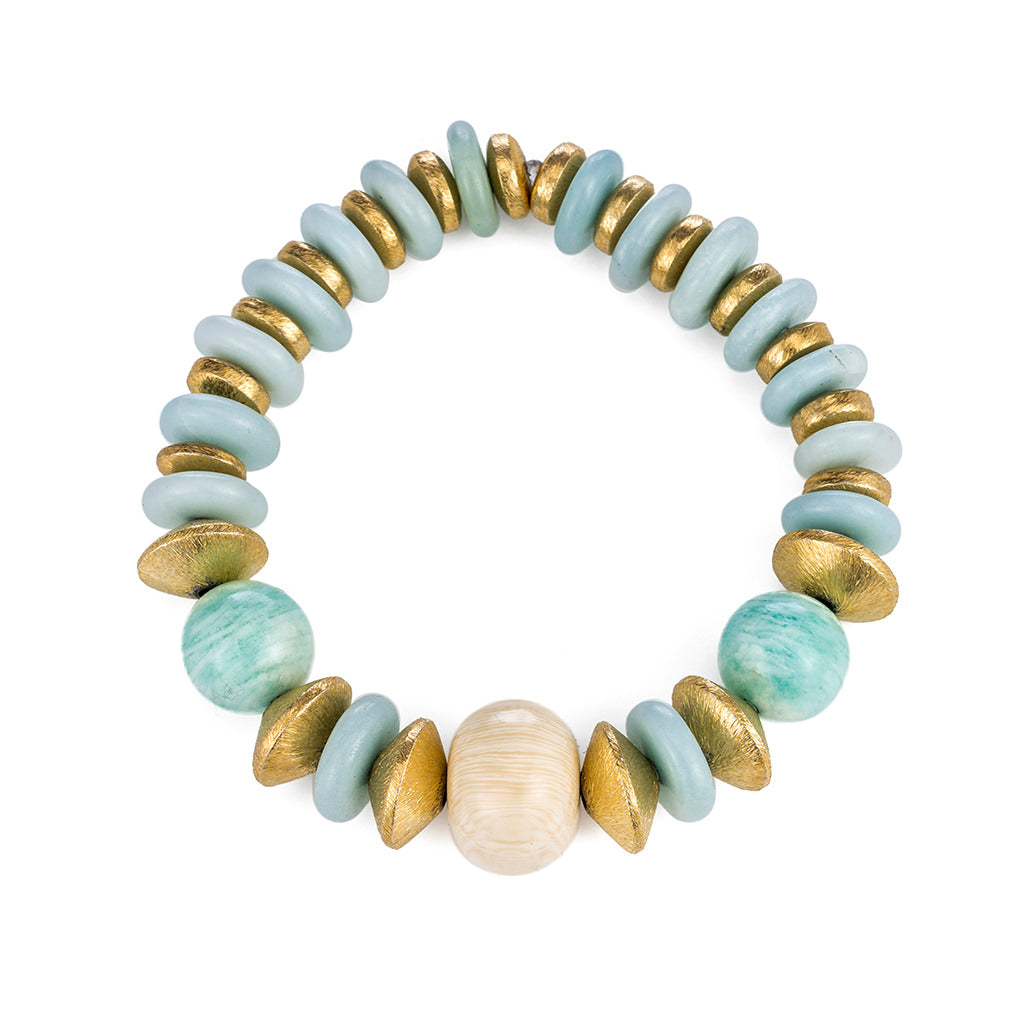 African Tanzanite, Amazonite and Resin Stretch Bracelet