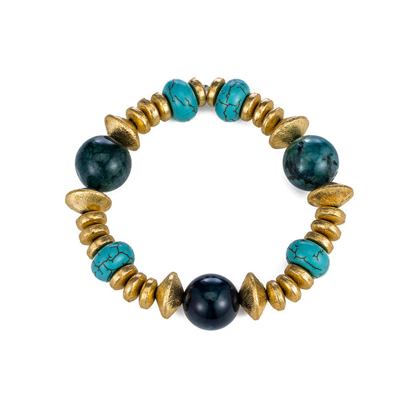 Chrysocolla and Turquoise Stretch Bracelet