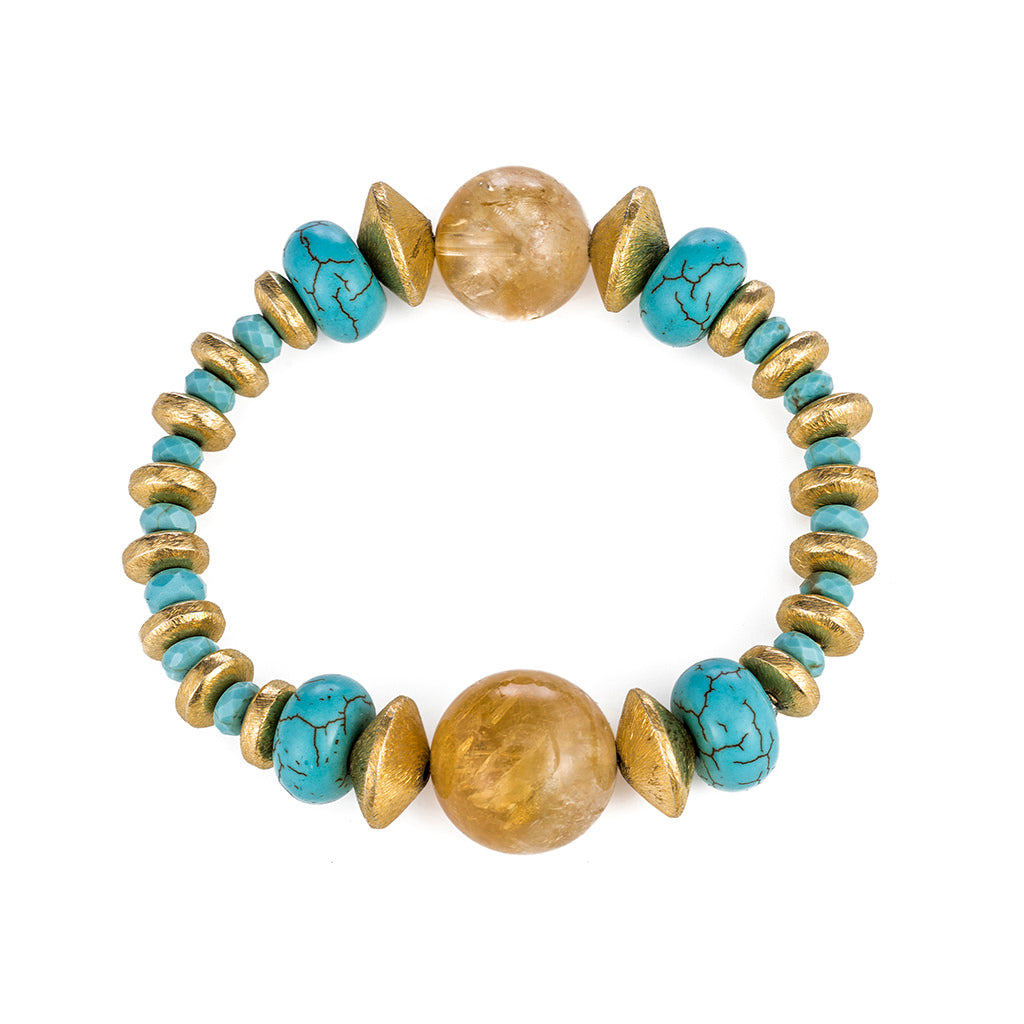 Citrine and Turquoise Stretch Bracelet