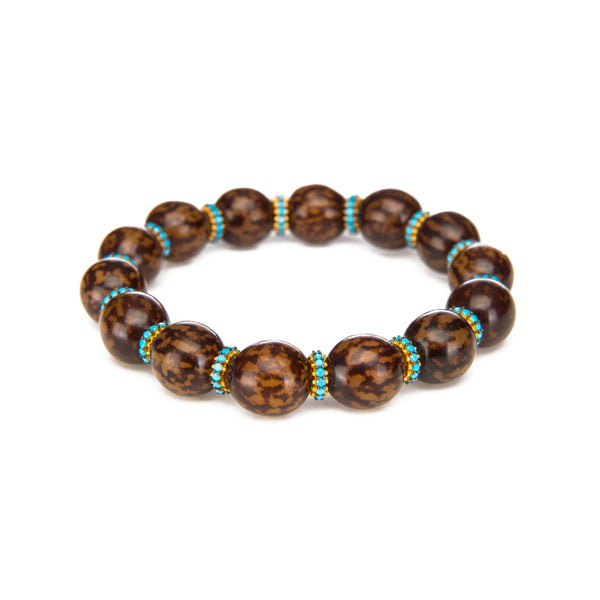 Cocoa Bean Stretch Bracelet with Turquoise CZ