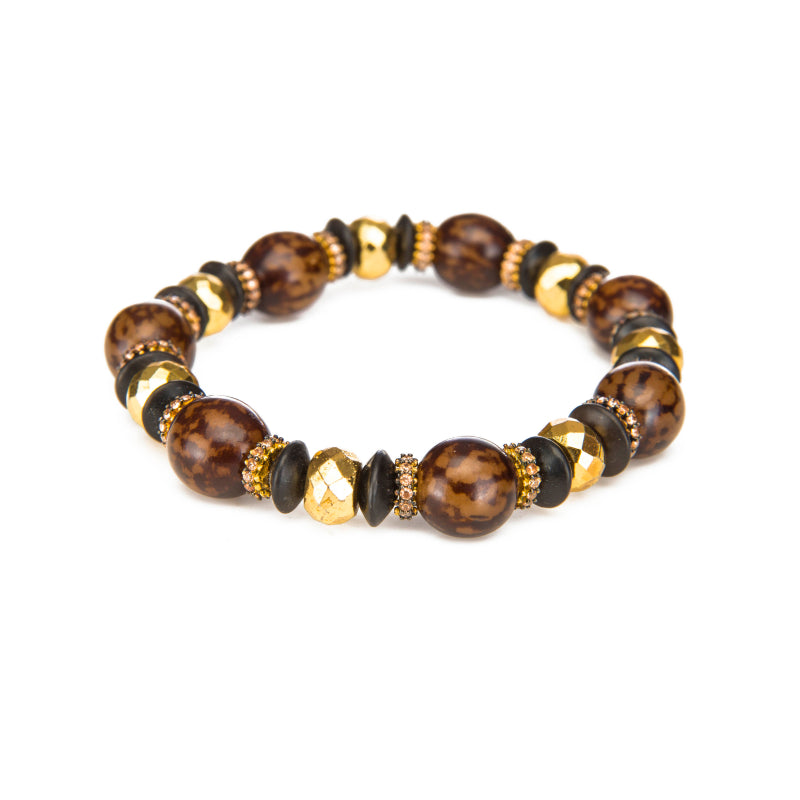 Cocoa Bean and Wood Disk Stretch Bracelet