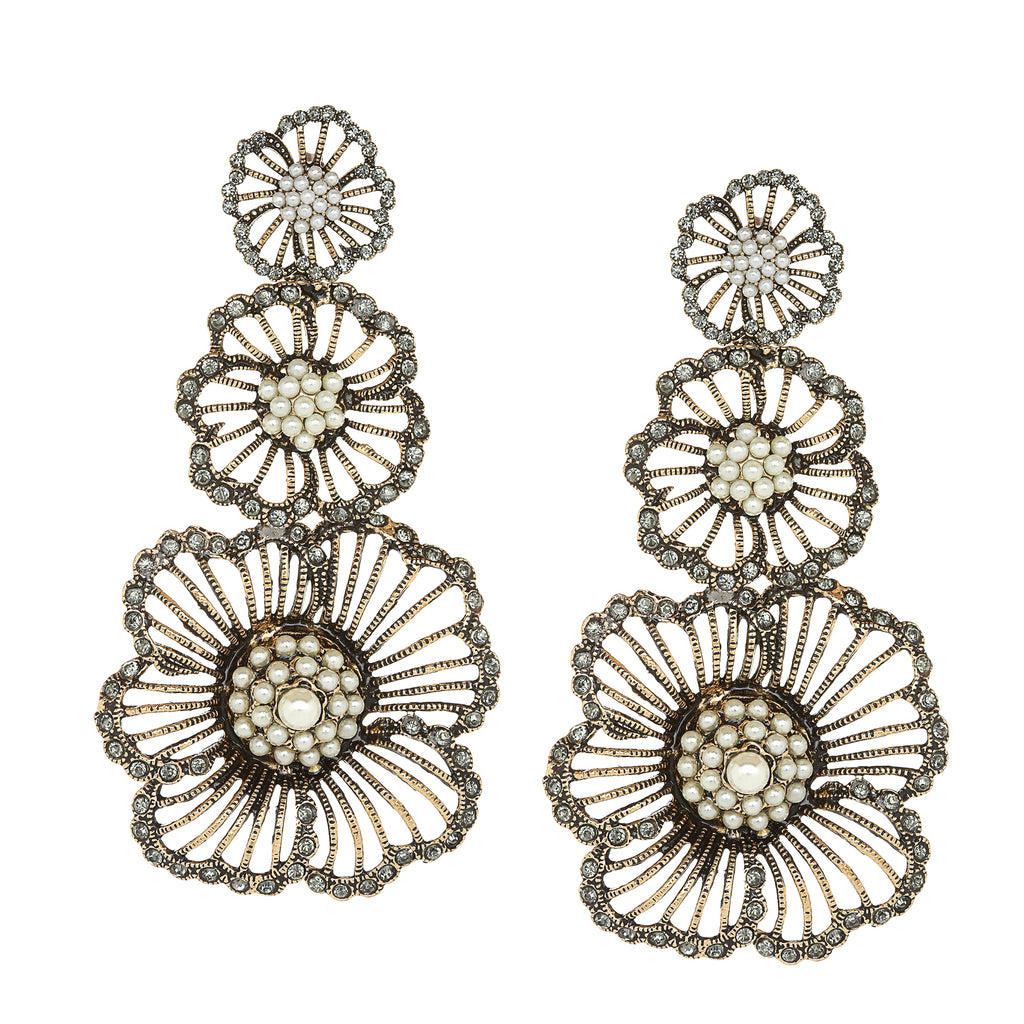 Vintage Triple Flower Vintage Pearl and Crystal Earrings