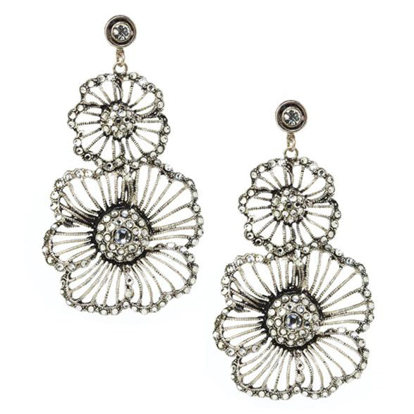 Silver Plate Vintage Triple Flower Crystal Earrings