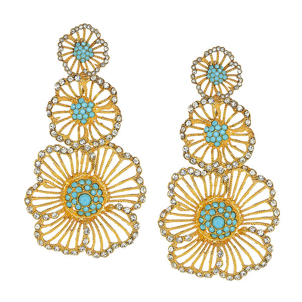 Vintage Turquoise Triple Flower Earrings