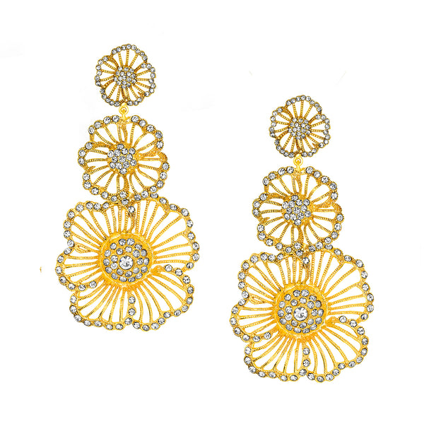 Vintage Yellow Gold Triple Flower Earrings