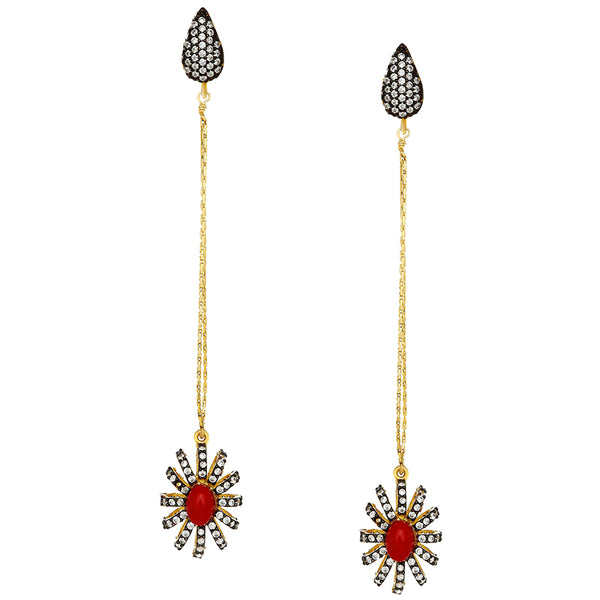 Delicate Red Florentine Drop Earrings
