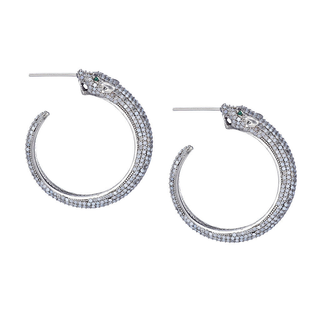 White Nano Panther Hoop Earrings