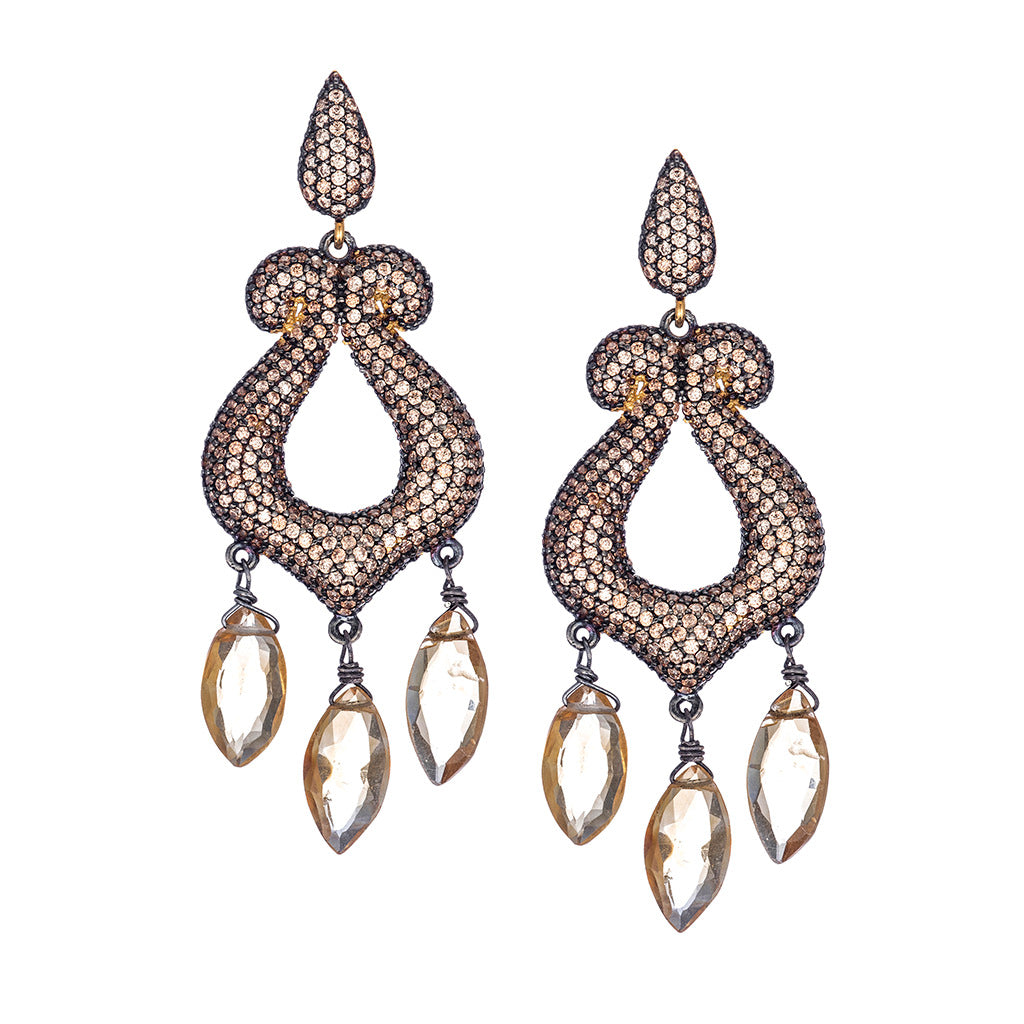 Maleficient Champagne CZ Earrings