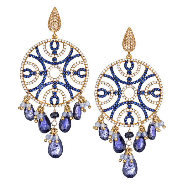 Small Iolite Chandelier Earrings