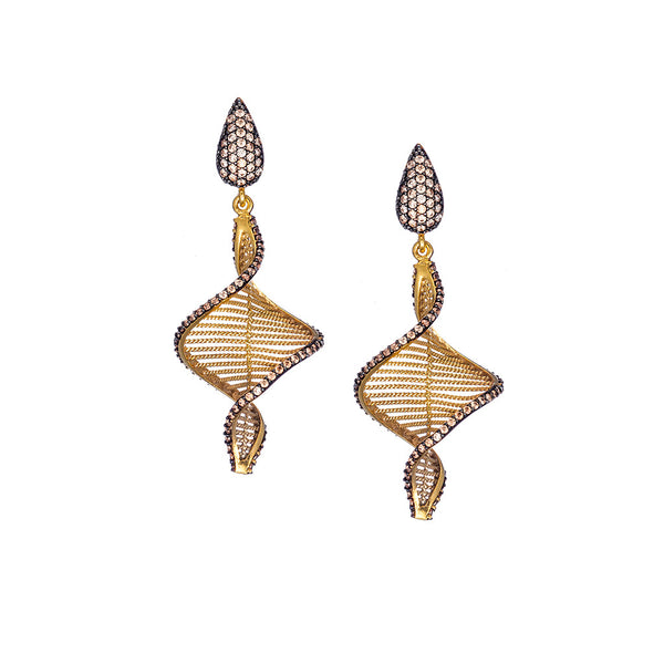 Champagne Swirl Drop Earrings with Rhodium Accents