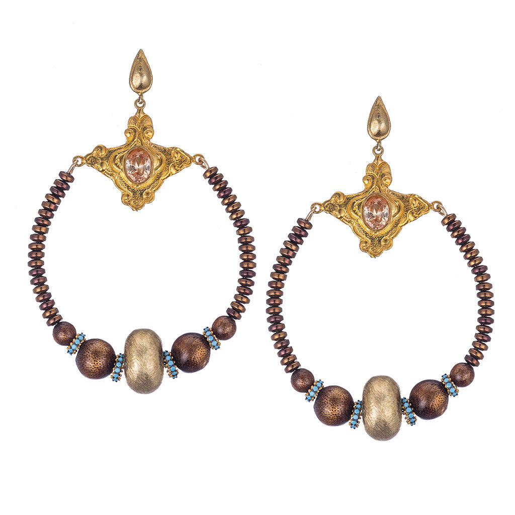 Florentine Hematite Chandelier Earrings