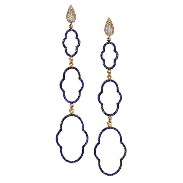 Triple Sapphire Regal Clover Drop Earrings