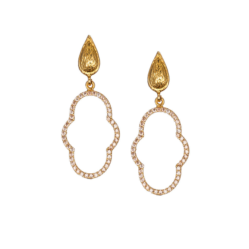 Small Delicate Champagne Regal Clover Drop Earring