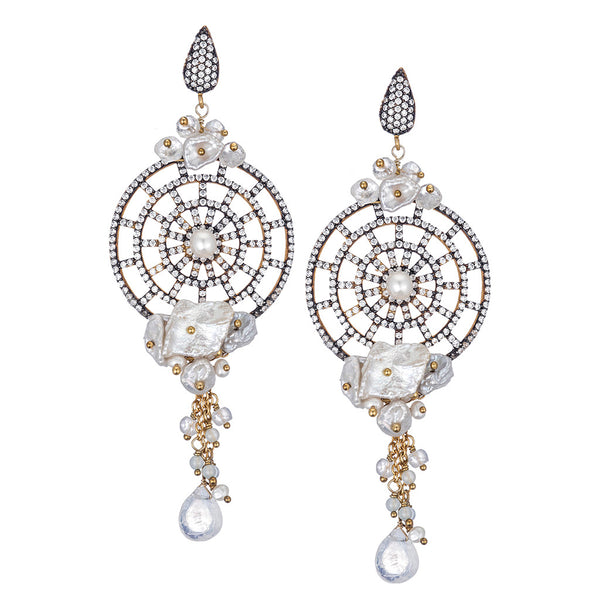 White Freshwater Pearl Chandelier Earrings