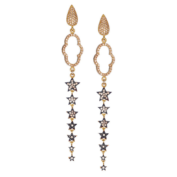 Celestial Champagne Regal Clover Drop Earrings