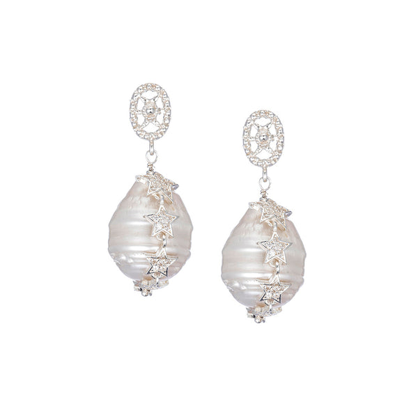 Celestial White Baroque Pearl Earrings