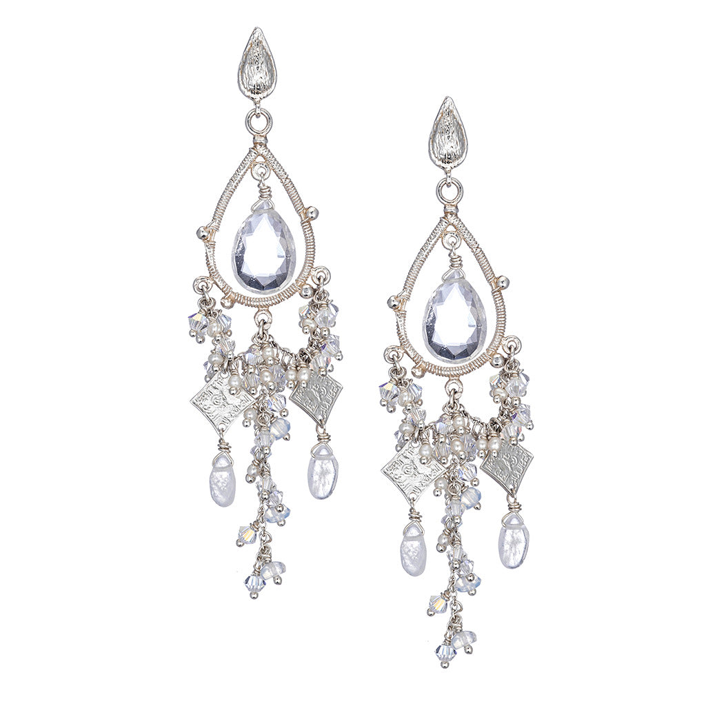 Delicate White Gold Chandelier Earrings