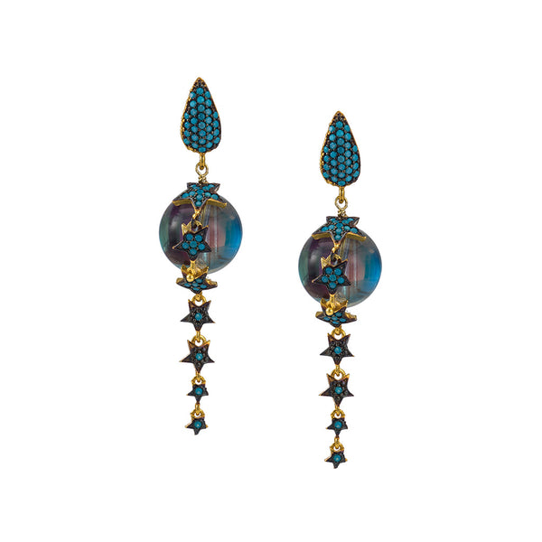 Celestial Rainbow Crystal Earrings  with Turquoise CZ