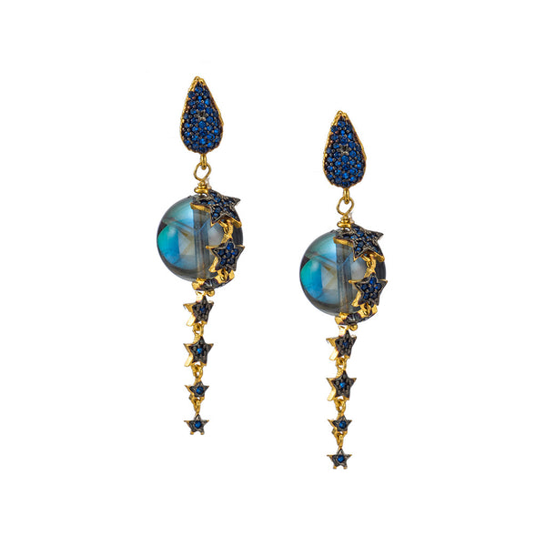 Celestial Rainbow Crystal Earrings with Sapphire CZ