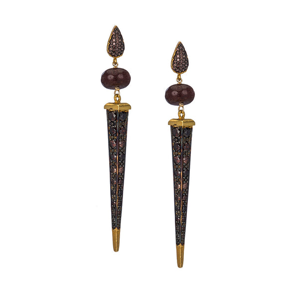 Florentine Coffee Dagger Earrings