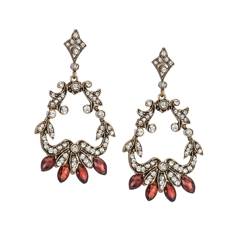 Vintage Earrings with Red Garnet Drops