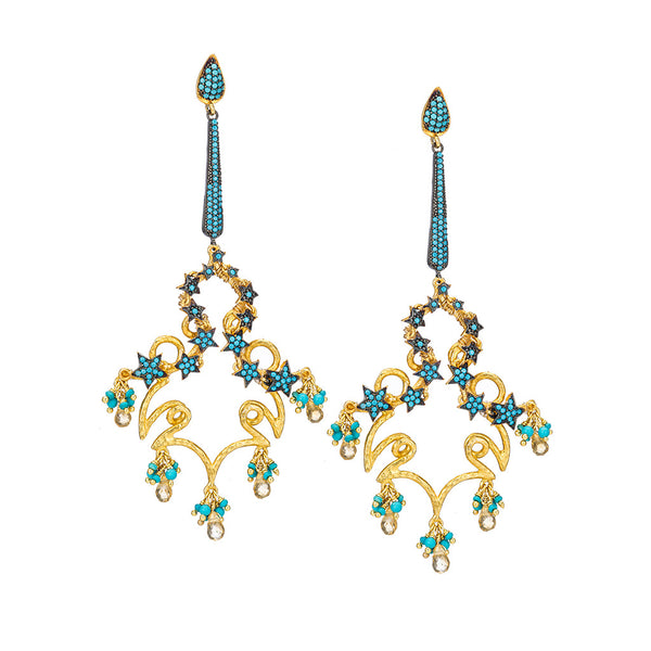 Celestial Turquoise CZ Chandelier Earrings