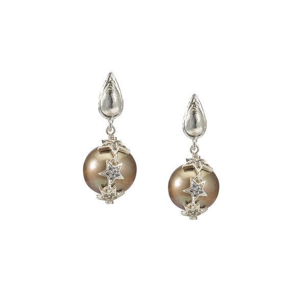 Celestial Brown Pearl Earrings
