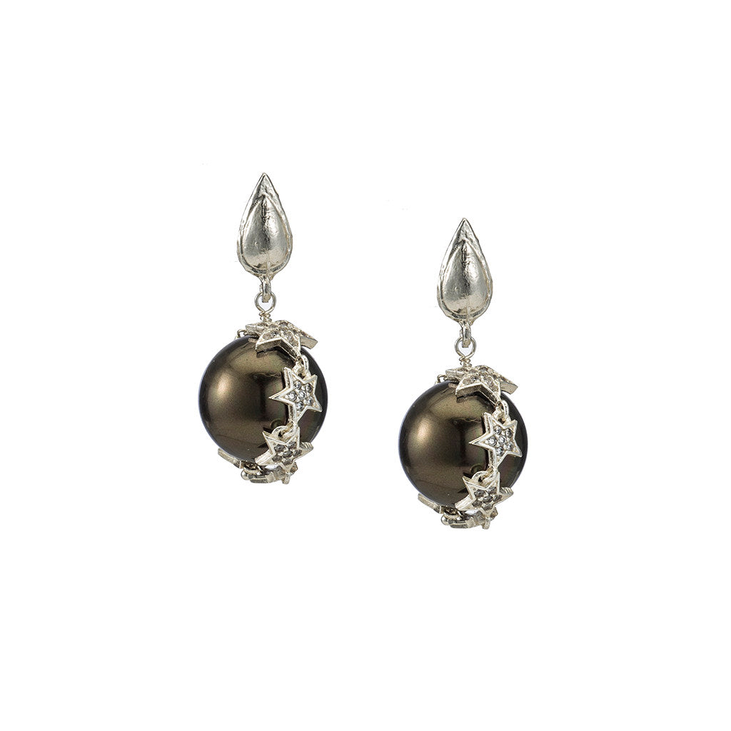 Celestial Black Pearl Earrings