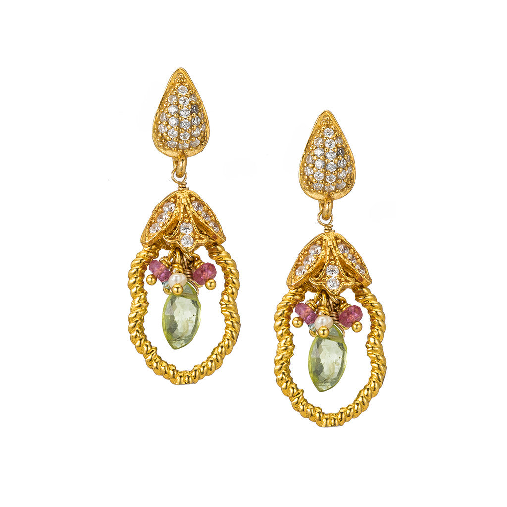 Delicate Peridot Drop Earrings