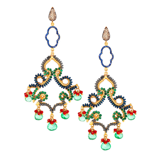 Celestial Green Chandelier Earrings