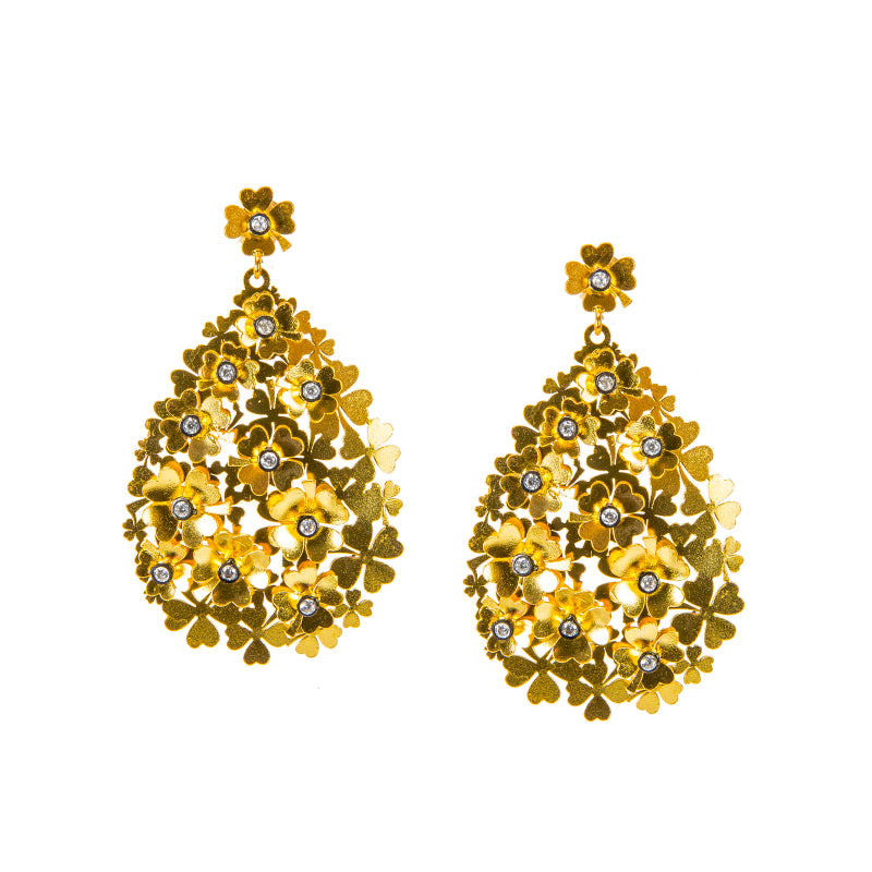 Floral Teardrop Laser Cut Earrings