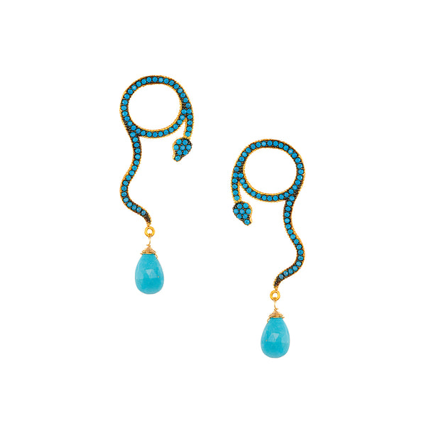 Turquoise Drop Snake Earrings