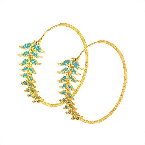 Angel Wing Turquoise CZ Hoops