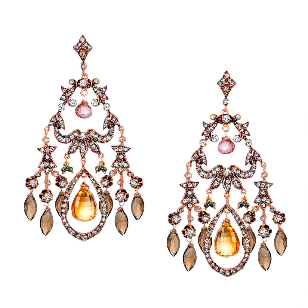 Vintage Reign Earrings with Citrine Drops