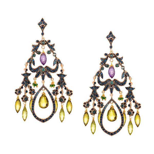 Vintage Reign Earrings with Lemon Quartz Drops