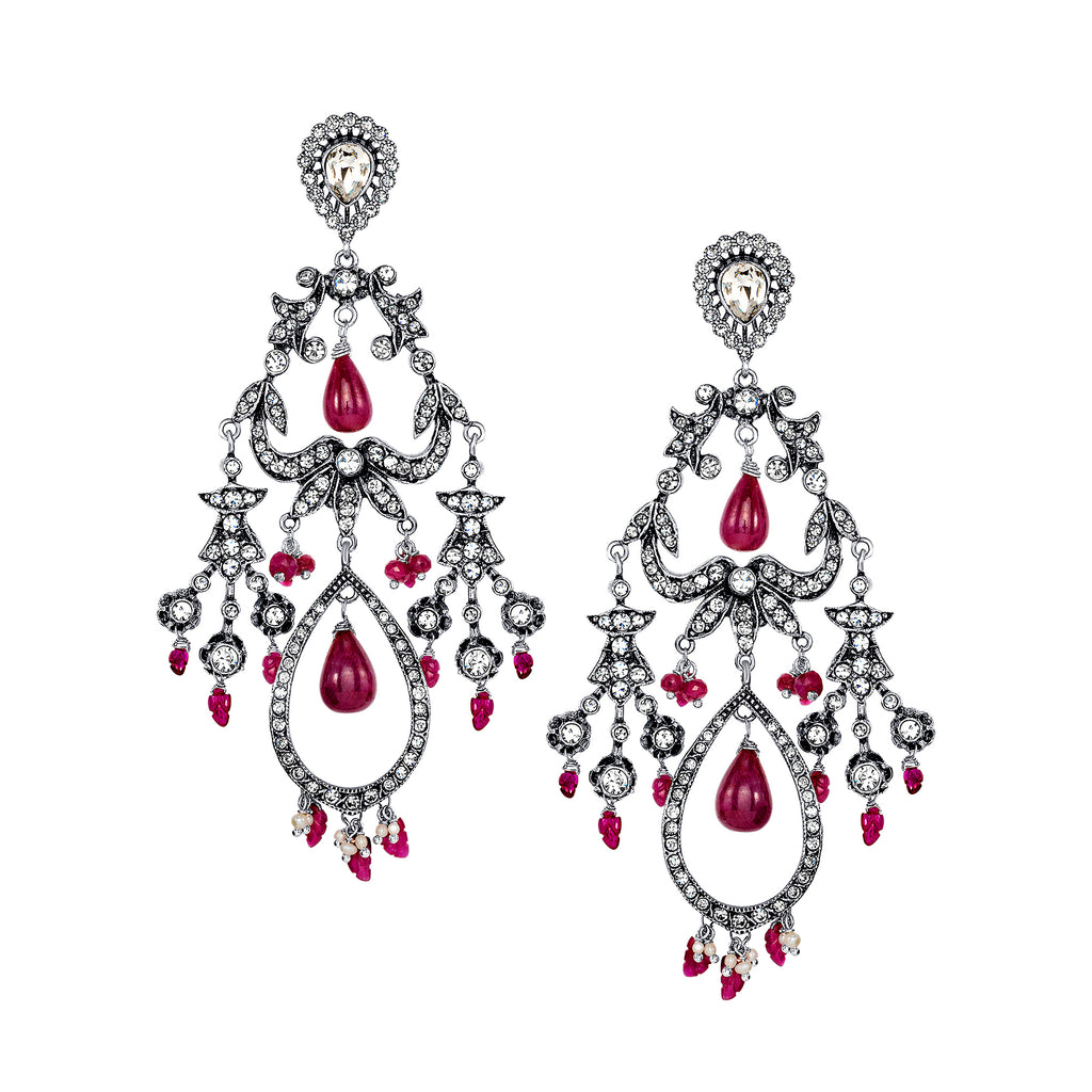 Vintage Reign Earrings with Ruby Drops