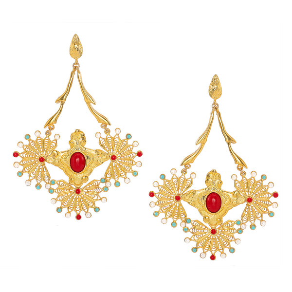 Cleopatra Rouge Chandelier Earrings