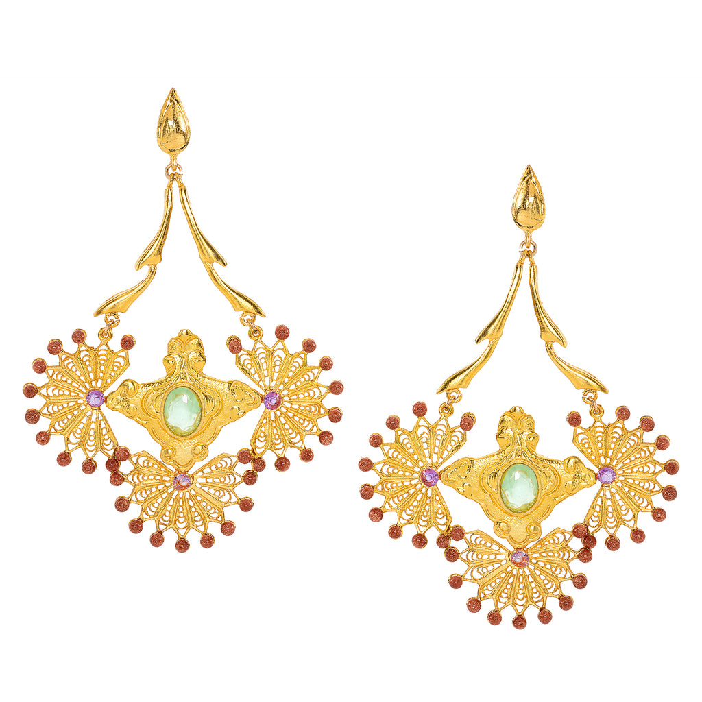 Cleopatra Chalcedony Chandelier Earrings
