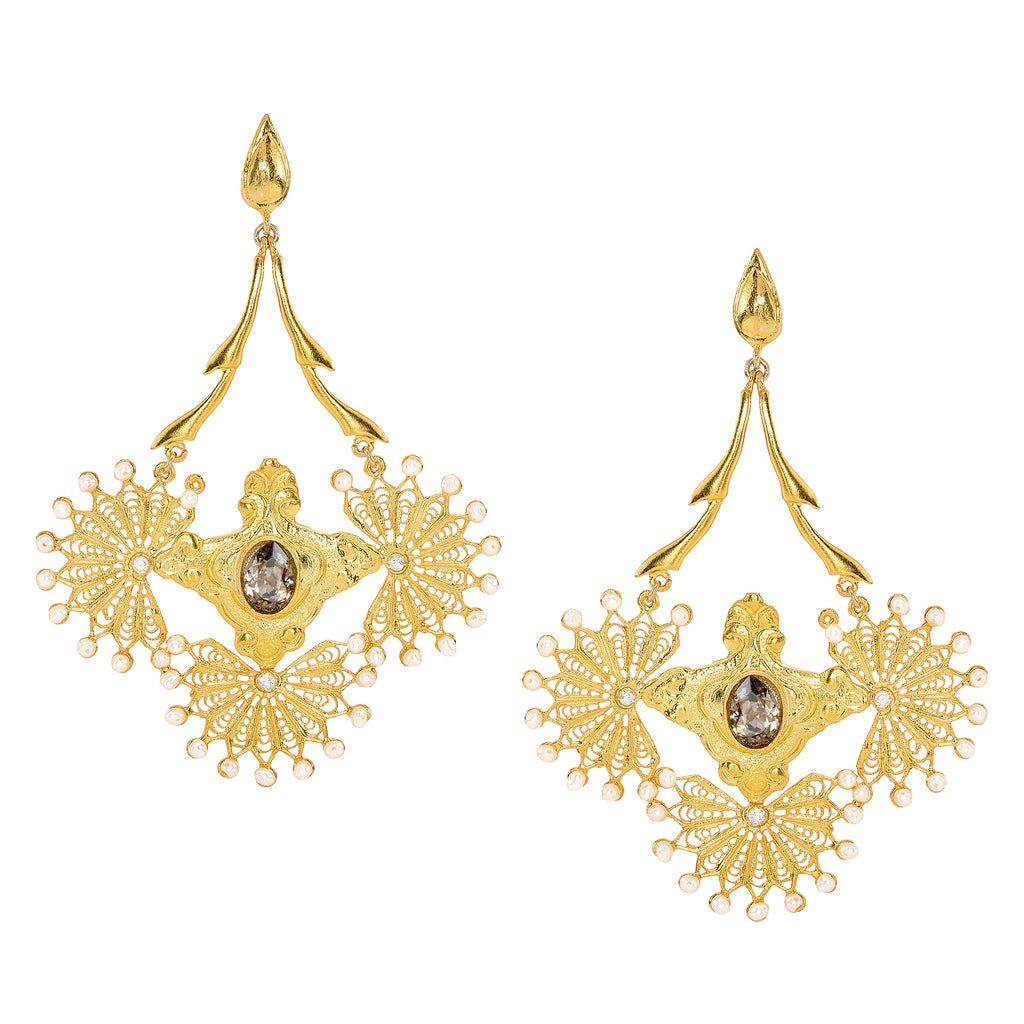 Cleopatra Smoky Chandelier Earrings