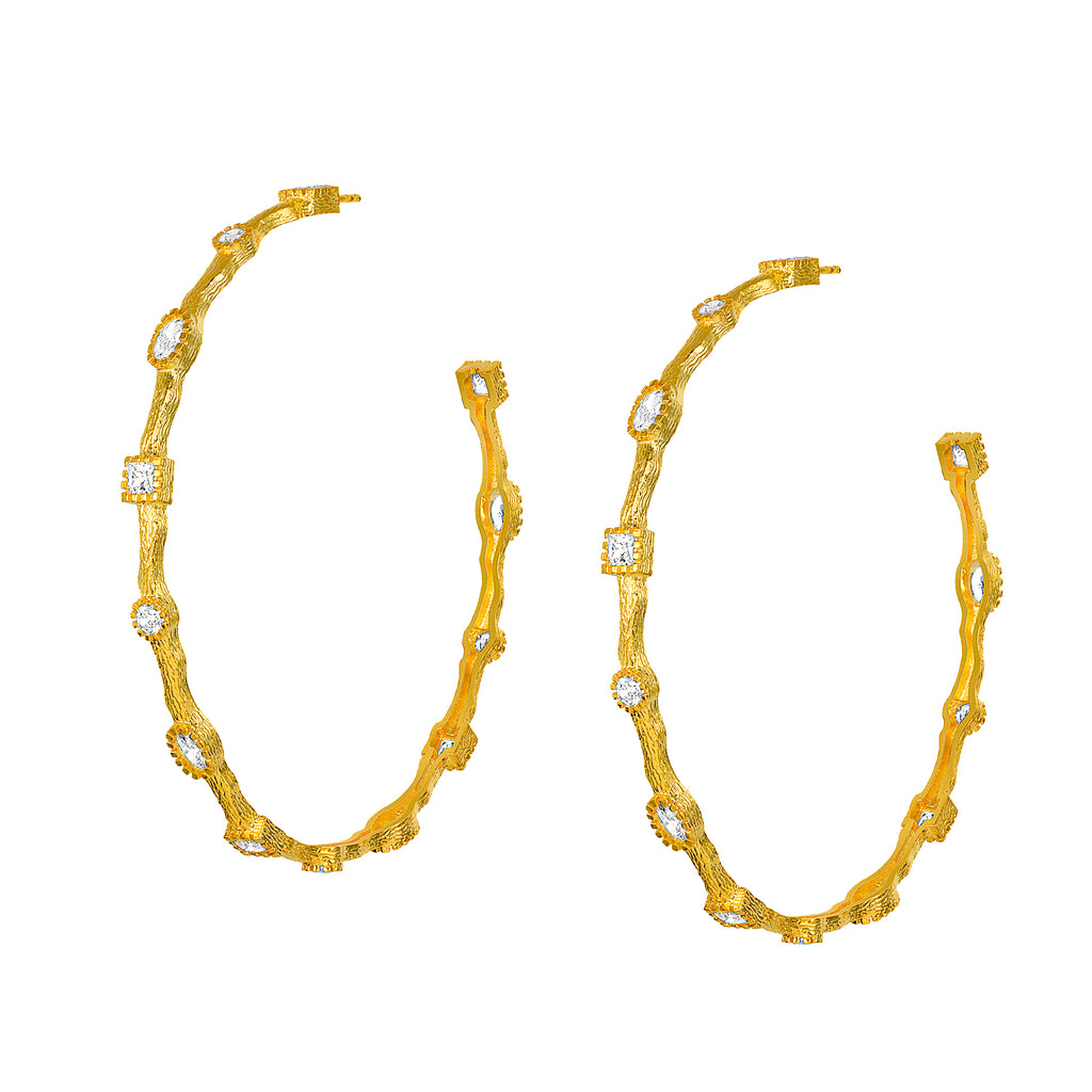 Large Paris Yellow Gold Hoops