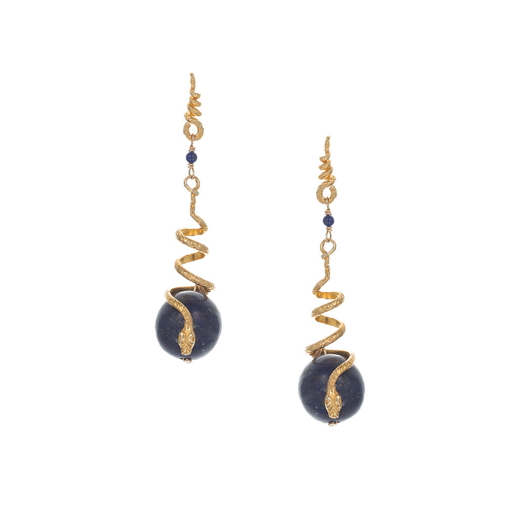 Lapis Snake Drop Earrings