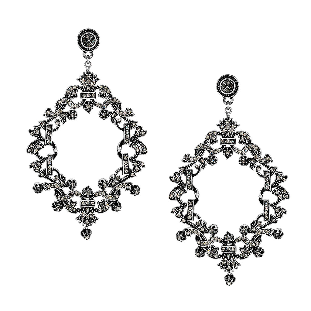 Vintage Silver Plate Black Diamond Chandelier Earrings