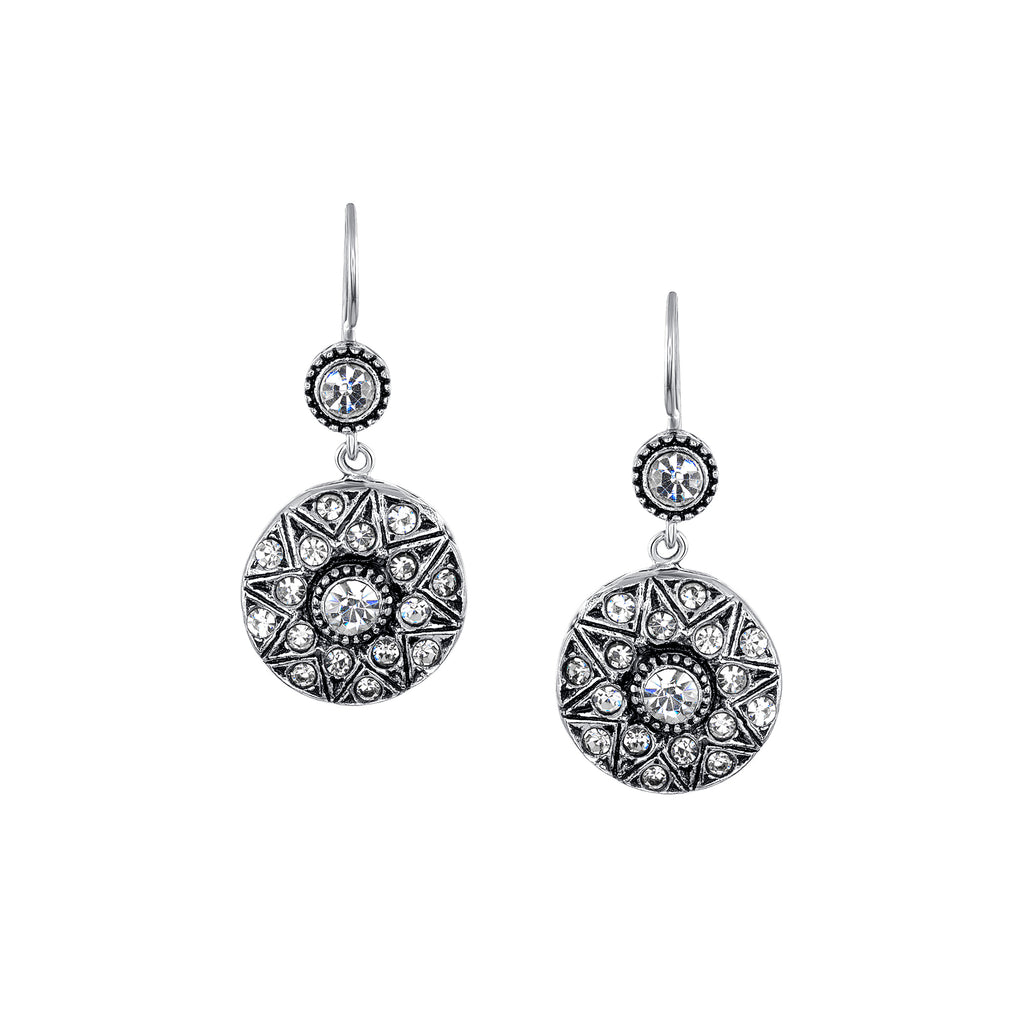 Azaara Classic Silver Plate Starburst Earrings