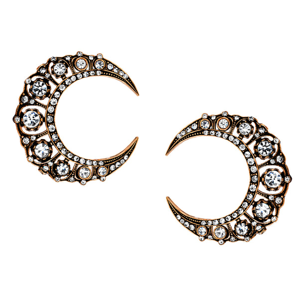Vintage Celestial Crescent Moon Stud Earrings
