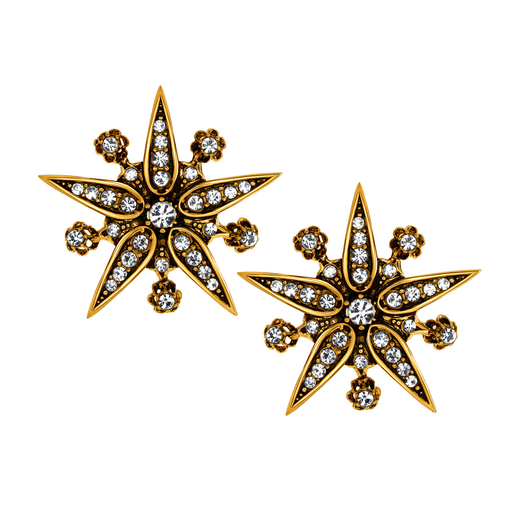 Vintage Petite Trianon Starburst Clip On Stud Earrings