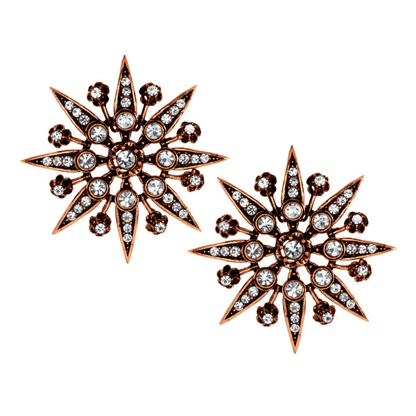 Vintage Trianon Starburst Clip On Earrings