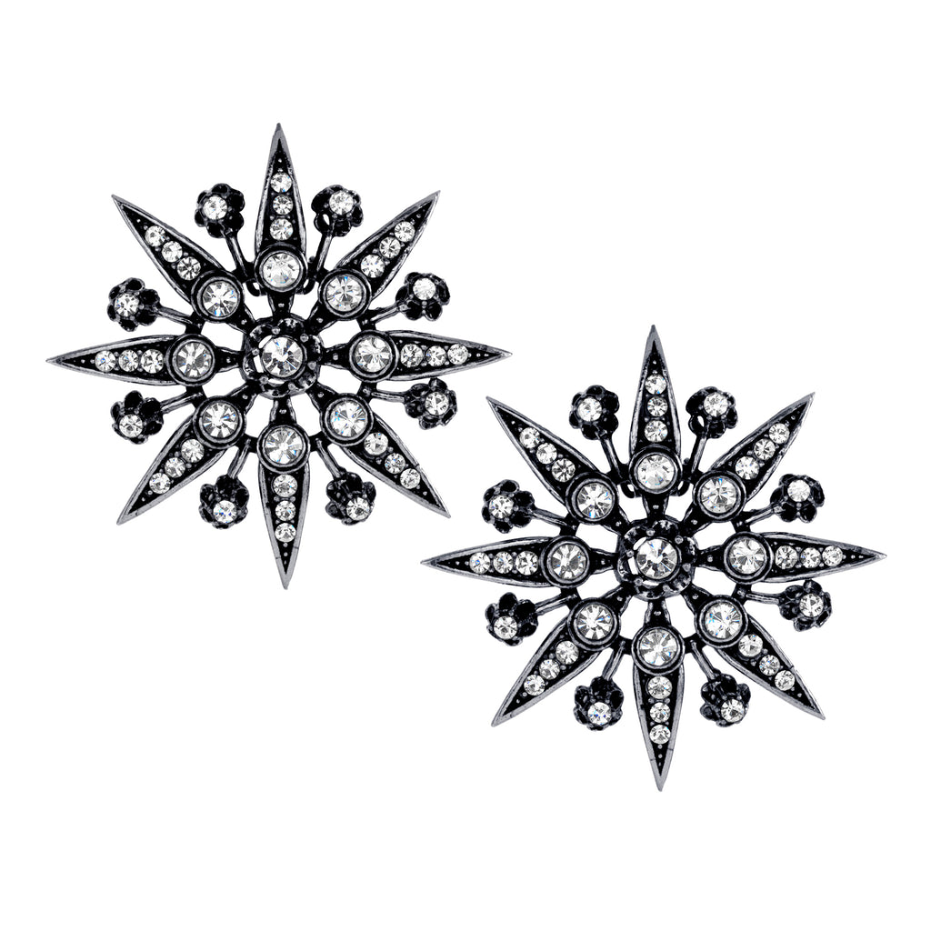 Vintage Silver Plate Trianon Starburst Clip On Stud Earrings