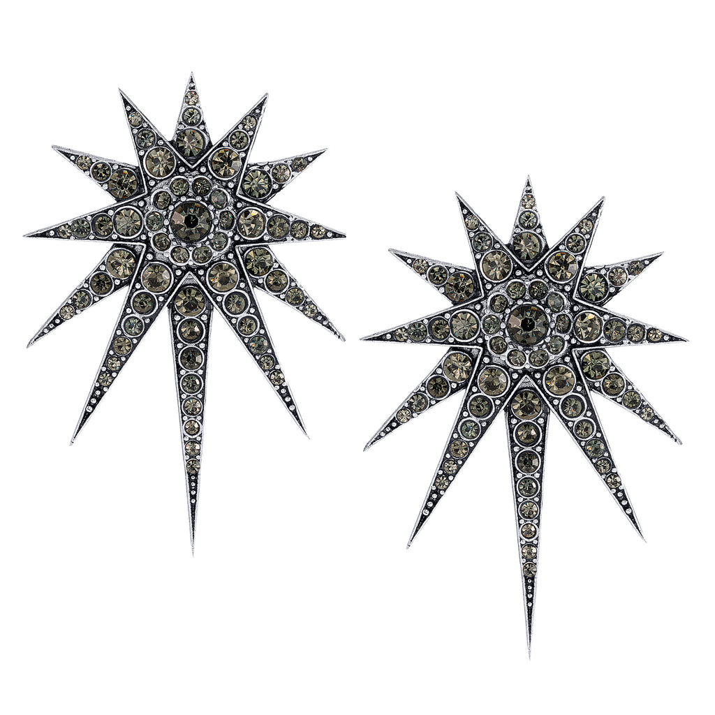 Vintage Black Diamond Celestial Falling Stars Earrings