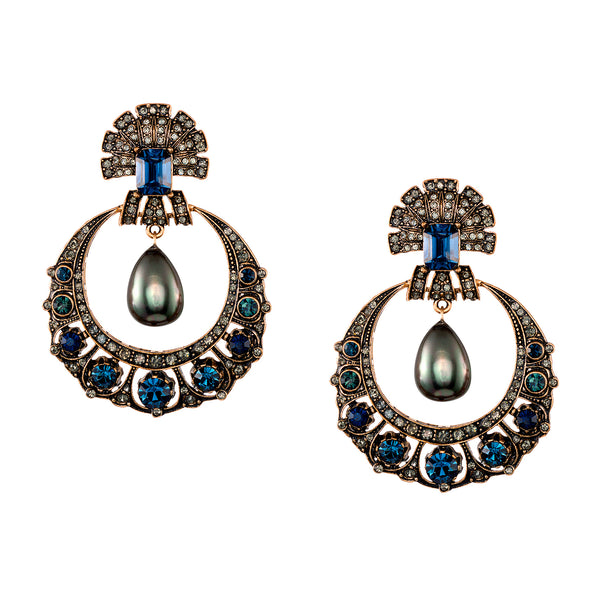 Vintage Black Pearl Drop Earrings
