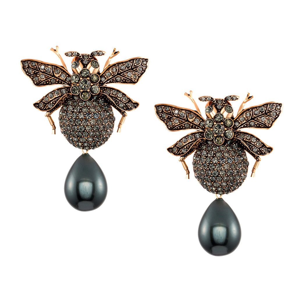Azaara Vintage Black Pearl Drop Clip On Bumble Bee Earrings